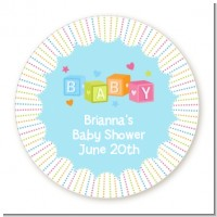 Baby Blocks Blue - Round Personalized Baby Shower Sticker Labels