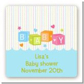 Baby Blocks Blue - Square Personalized Baby Shower Sticker Labels