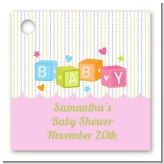 Baby Blocks Pink - Personalized Baby Shower Card Stock Favor Tags