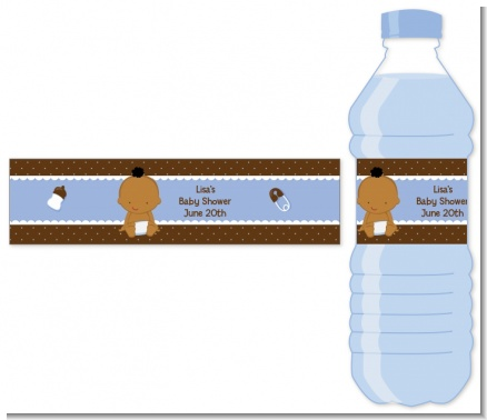 Baby Boy African American - Personalized Baby Shower Water Bottle Labels
