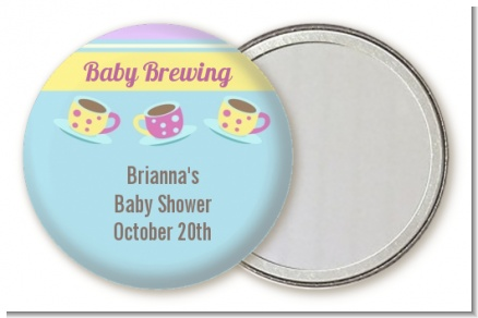 Baby Brewing Tea Party - Personalized Baby Shower Pocket Mirror Favors