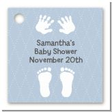 Baby Feet Pitter Patter Blue - Personalized Baby Shower Card Stock Favor Tags