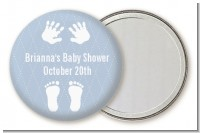 Baby Feet Pitter Patter Blue - Personalized Baby Shower Pocket Mirror Favors
