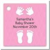 Baby Feet Pitter Patter Pink - Personalized Baby Shower Card Stock Favor Tags