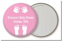 Baby Feet Pitter Patter Pink - Personalized Baby Shower Pocket Mirror Favors