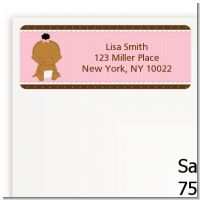 Baby Girl African American - Baby Shower Return Address Labels