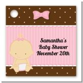 Baby Girl Caucasian - Personalized Baby Shower Card Stock Favor Tags