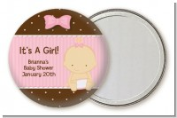 Baby Girl Caucasian - Personalized Baby Shower Pocket Mirror Favors