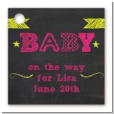 Baby Girl Chalk Inspired - Personalized Baby Shower Card Stock Favor Tags