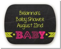 Baby Girl Chalk Inspired - Personalized Baby Shower Rounded Corner Stickers