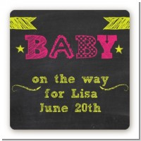 Baby Girl Chalk Inspired - Square Personalized Baby Shower Sticker Labels