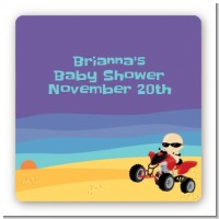 Baby On A Quad - Square Personalized Baby Shower Sticker Labels