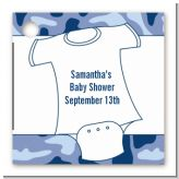 Baby Outfit Blue Camo - Personalized Baby Shower Card Stock Favor Tags