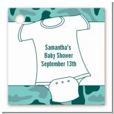 Baby Outfit Green Camo - Personalized Baby Shower Card Stock Favor Tags
