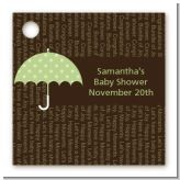 Baby Sprinkle Umbrella Green - Personalized Baby Shower Card Stock Favor Tags
