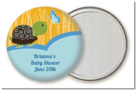 Baby Turtle Blue - Personalized Baby Shower Pocket Mirror Favors