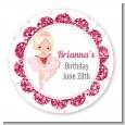 Ballerina - Round Personalized Birthday Party Sticker Labels thumbnail