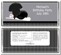 Baseball Jersey Black and White - Personalized Birthday Party Candy Bar Wrappers