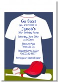 Baseball Jersey Blue and Red - Birthday Party Petite Invitations