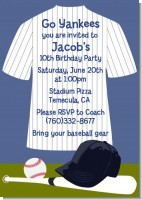 Baseball Jersey Blue and White Stripes - Birthday Party Invitations