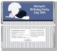 Baseball Jersey Blue and White Stripes - Personalized Birthday Party Candy Bar Wrappers thumbnail
