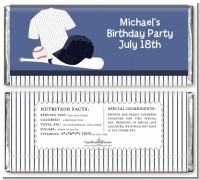 Baseball Jersey Blue and White Stripes - Personalized Birthday Party Candy Bar Wrappers
