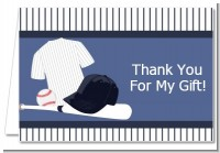 Baseball Jersey Blue and White Stripes - Birthday Party Thank You Cards