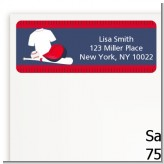 Baseball Jersey Blue and Red - Birthday Party Return Address Labels