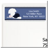 Baseball Jersey Blue and White Stripes - Birthday Party Return Address Labels