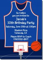 Basketball Jersey Blue and Orange - Birthday Party Invitations