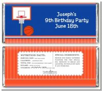 Basketball Jersey Blue and Orange - Personalized Birthday Party Candy Bar Wrappers