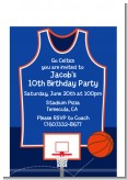 Basketball Jersey Blue and Orange - Birthday Party Petite Invitations