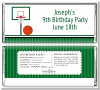 Basketball Jersey Green and White - Personalized Birthday Party Candy Bar Wrappers