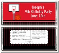 Basketball Jersey Red and Black - Personalized Birthday Party Candy Bar Wrappers