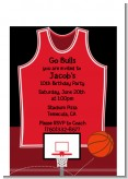 Basketball Jersey Red and Black - Birthday Party Petite Invitations