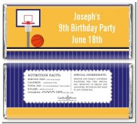 Basketball Purple and Yellow - Personalized Birthday Party Candy Bar Wrappers