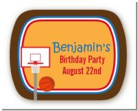Basketball - Personalized Birthday Party Rounded Corner Stickers