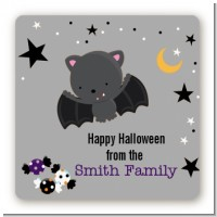 Bat - Square Personalized Halloween Sticker Labels
