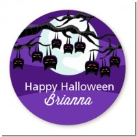 Bats On A Branch - Round Personalized Halloween Sticker Labels