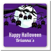 Bats On A Branch - Square Personalized Halloween Sticker Labels