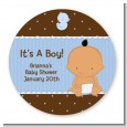 Baby Boy Hispanic - Round Personalized Baby Shower Sticker Labels thumbnail