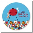 BBQ Grill - Round Personalized Birthday Party Sticker Labels thumbnail