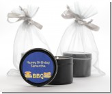 BBQ Hotdogs and Hamburgers - Birthday Party Black Candle Tin Favors
