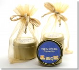 BBQ Hotdogs and Hamburgers - Birthday Party Gold Tin Candle Favors
