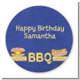 BBQ Hotdogs and Hamburgers - Round Personalized Birthday Party Sticker Labels thumbnail