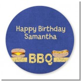 BBQ Hotdogs and Hamburgers - Round Personalized Birthday Party Sticker Labels