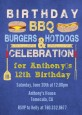 BBQ Hotdogs and Hamburgers - Birthday Party Invitations thumbnail