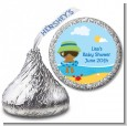Beach Baby African American Boy - Hershey Kiss Baby Shower Sticker Labels thumbnail