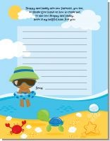 Beach Baby African American Boy - Baby Shower Notes of Advice