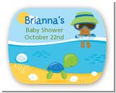Beach Baby African American Boy - Personalized Baby Shower Rounded Corner Stickers